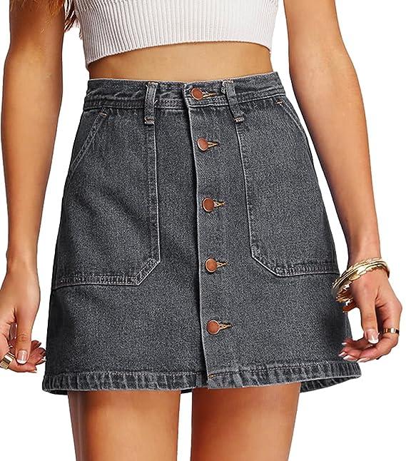 cdd63732e2 SheIn Botón Frontal Denim de la Mujer a-Line Falda Corta  Amazon.com ...