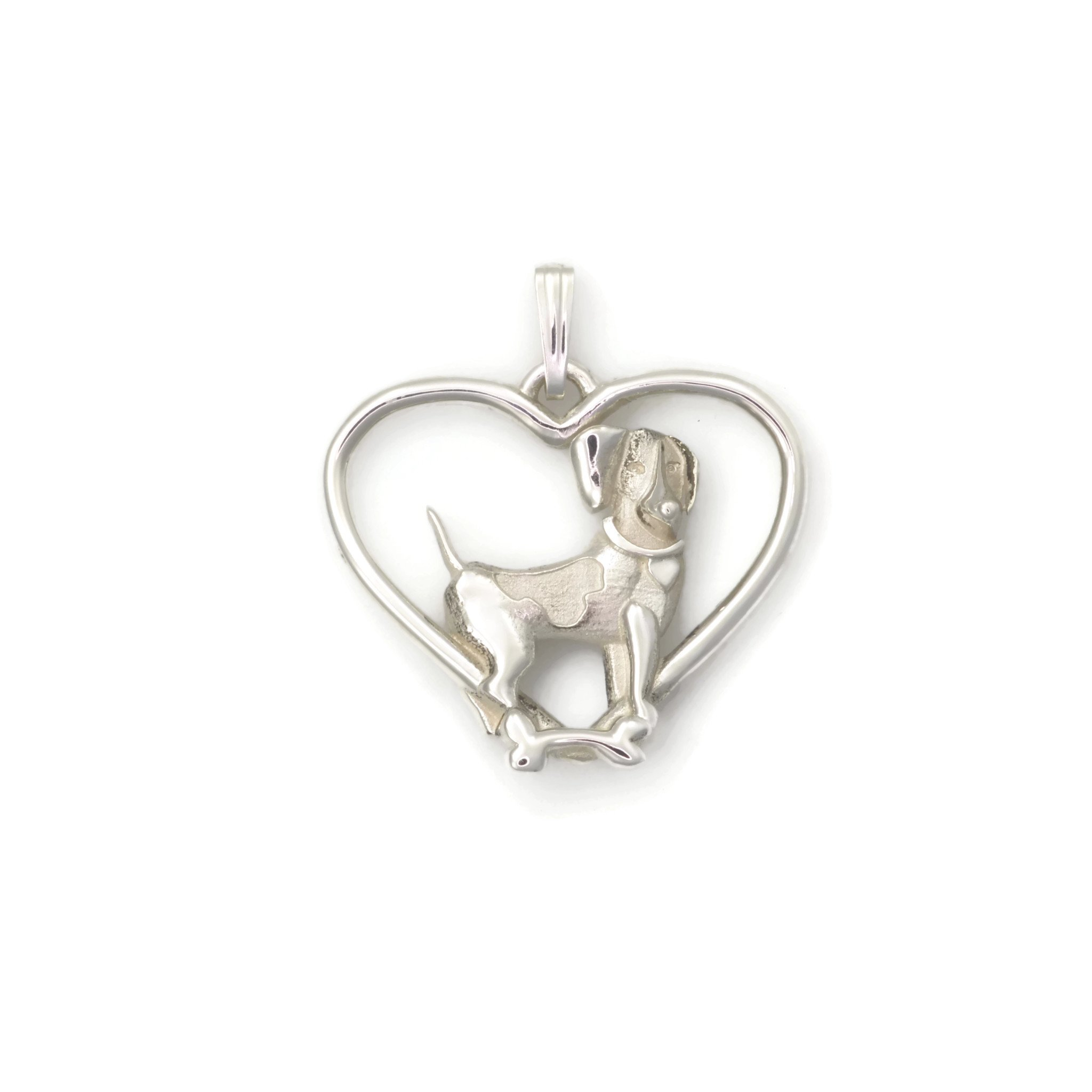 Sterling Silver Beagle Necklace, Silver Beagle Pendant fr Donna Pizarro's Animal Whimsey Collection of Fine Beagle jewelry by Donna Pizarro Designs