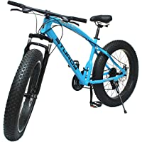 Sturdy Fat Bike with 26X4 INCH Tyres Carbon Steel Frame 21 SPPEED Gears for Adults - (Blue)
