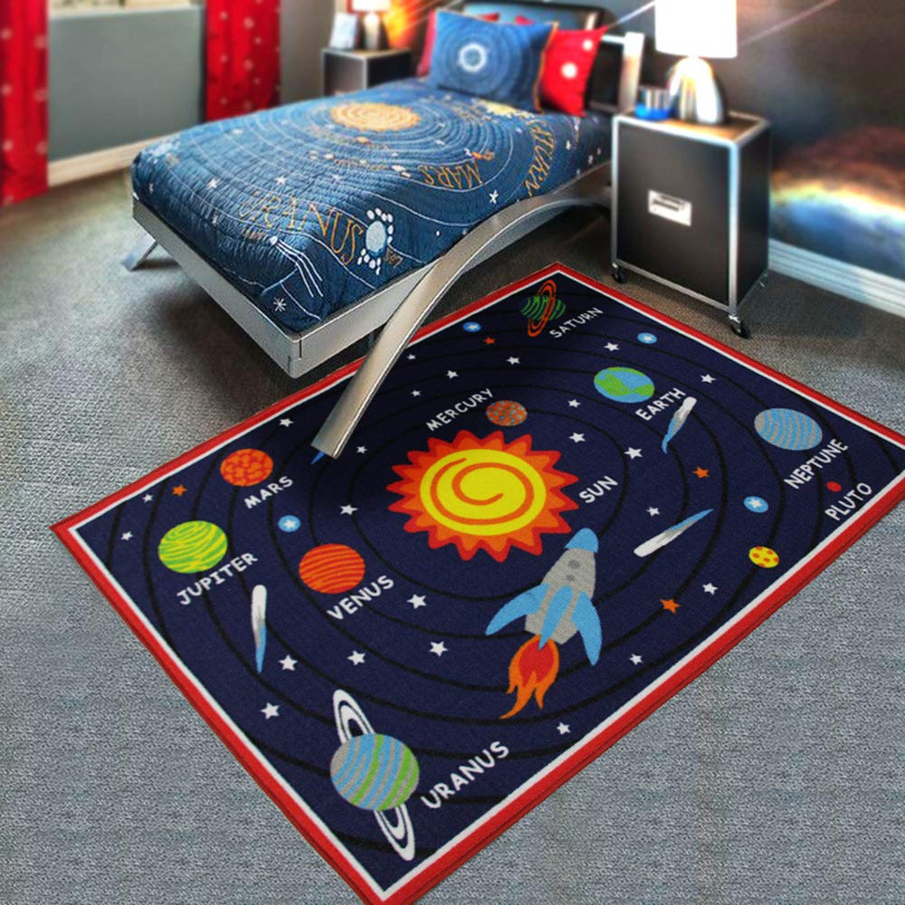 HUAHOO Kids Rug Educational Learning Carpet Galaxy Planets Stars Blue Children's Fun Area Rug Nursery Rugs Solar System Rectangle Rug (Solar System, 39''x51'')
