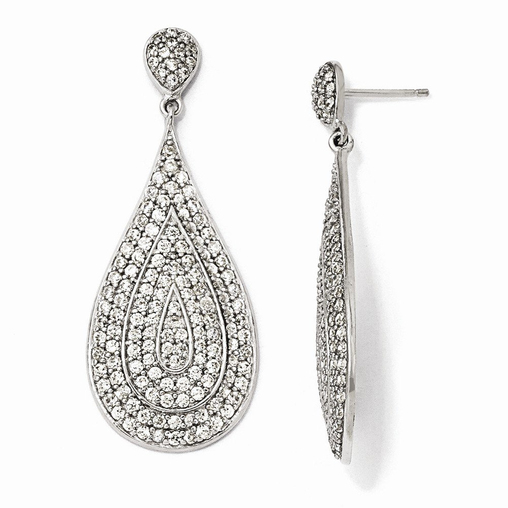 Sterling Silver CZ Teardrop Dangle Post Earrings