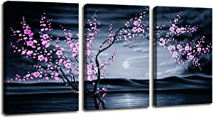 Moyedecor Art - 3 Pieces modern Canvas Painting Wall Art The Picture For Home Decoration Purple Plum blossom In night view Sea View Print On Canvas Giclee Artwork For Wall Decor Gift piece