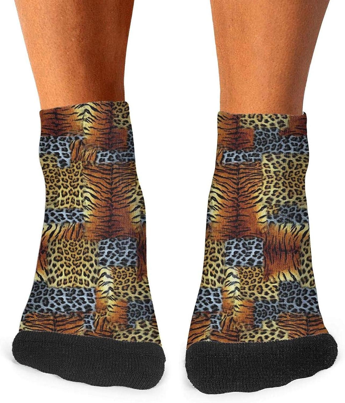 Floowyerion Mens Leopard print digital print animal skin tiger Novelty Sports Socks Crazy Funny Crew Tube Socks
