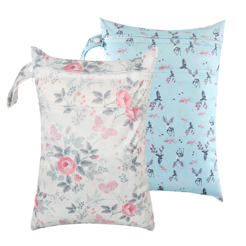 die Lagerung Reisetasche Organizer f/ür Baby-Kind Wasserdichte wiederverwendbare bewegliche Stoffwindeln Wet-Tasche mit Rei/ßverschluss-Tasche Multi-Color