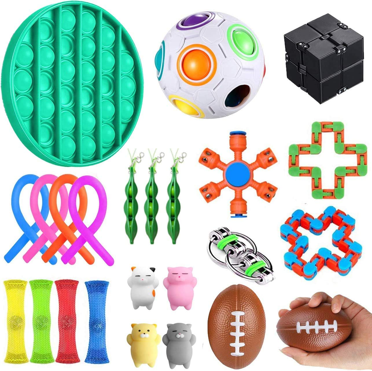 YAOJIN Sensory Toys Set,23pcs Fidget Toys for Kids and Adults, Relieves Stress and Anxiety Fidget Toy, Special Toys Assortment for Birthday Party Favors