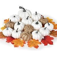YQing 65 szt. sztuczne dynie klonu żniwa jesienna dekoracja, 15 szt. jesienne dynie i 50 szt. liście klonu na jesień…