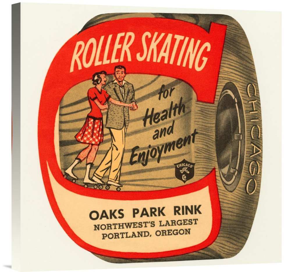 Global Gallery GCS-375777-22-142 ''Retrorollers Roller Skating For Health & Enjoyment'' Gallery Wrap Giclee on Canvas Wall Art Print