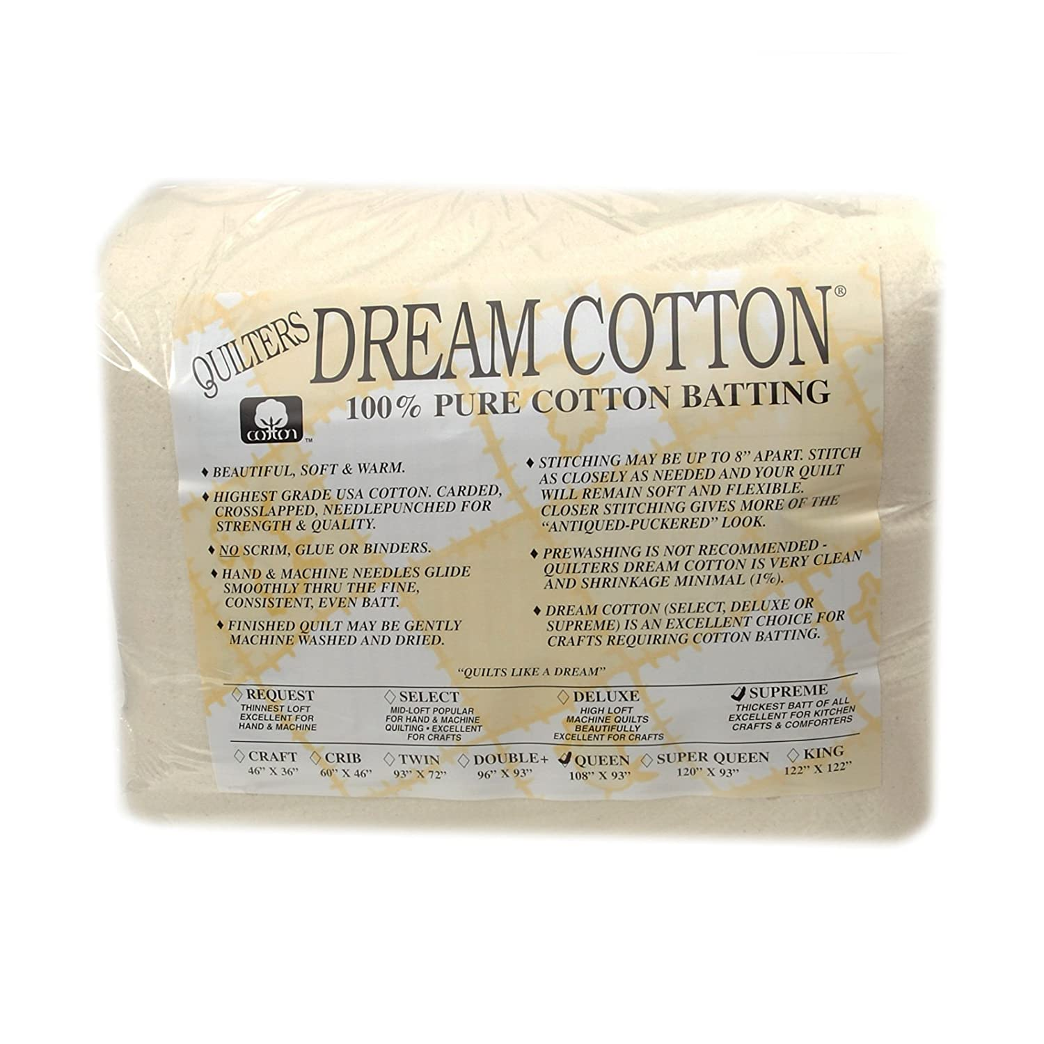 Com Quilters Dream Natural Cotton Supreme Batting 108in X 93in Queen