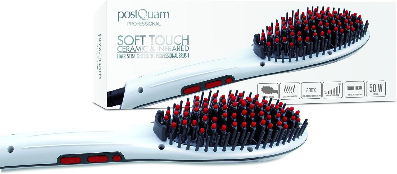 Cepillo alisador cerámico e infrarrojo para el pelo 50W, Blanco y rojo - Postquam