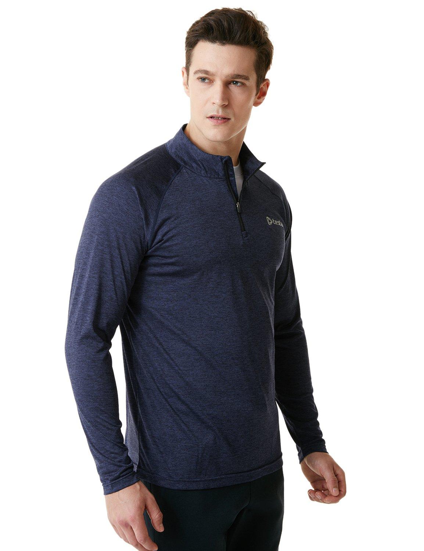 Tesla TM-MKZ02-MNV_Small Men's 1/4 Zip Cool Dry Active Sporty Shirt MKZ02