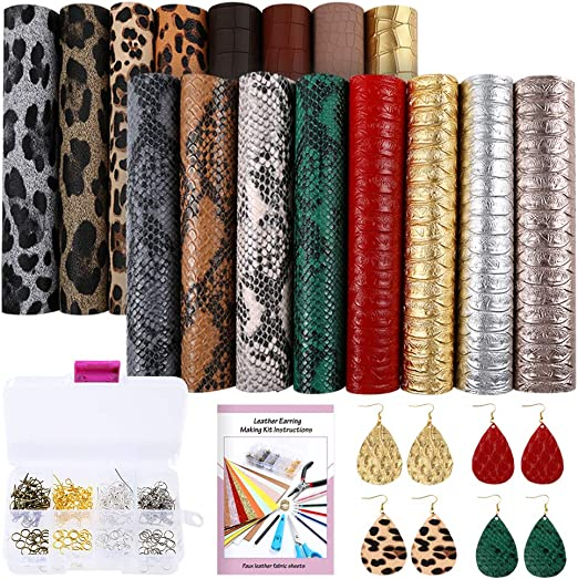 SGHUO 15pcs Embossed Faux Leather Sheet 6.3 x 8.3 for Making Earrings Bow Wallet and DIY Sewing Craft