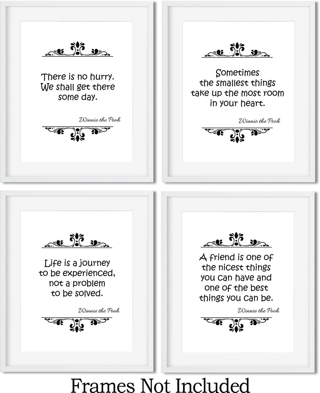 Four 8 x 10 Unframed Art Print Set Gabbys Choice Winnie the Pooh Art Print Quotes