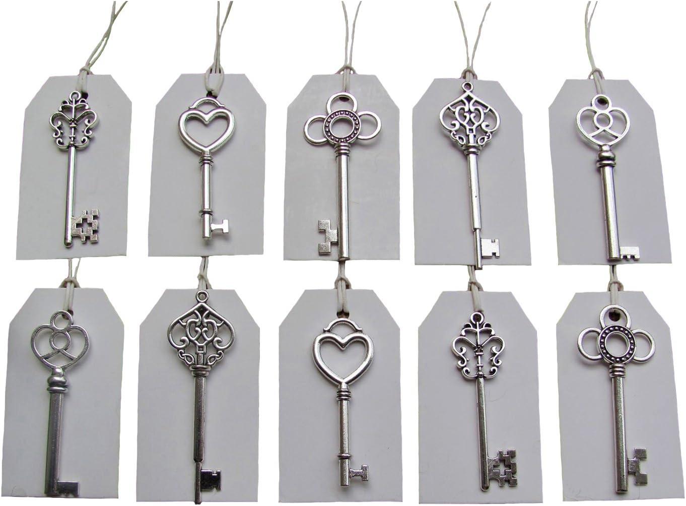 10 Heart Key Pendants Key Charms Antiqued Silver Skeleton Keys Steampunk Keys