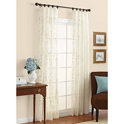 Amazon Better Homes And Gardens Embroidered Sheer Curtain Panel