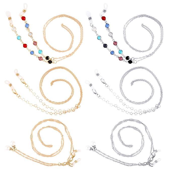 Amazon.com: 6 piezas de cadenas de gafas de metal para gafas ...