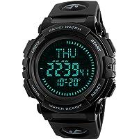 Reloj digital deportivo militar para hombre con brújula de supervivencia, impermeable, cuenta atrás, 3 cronómetros, alarma