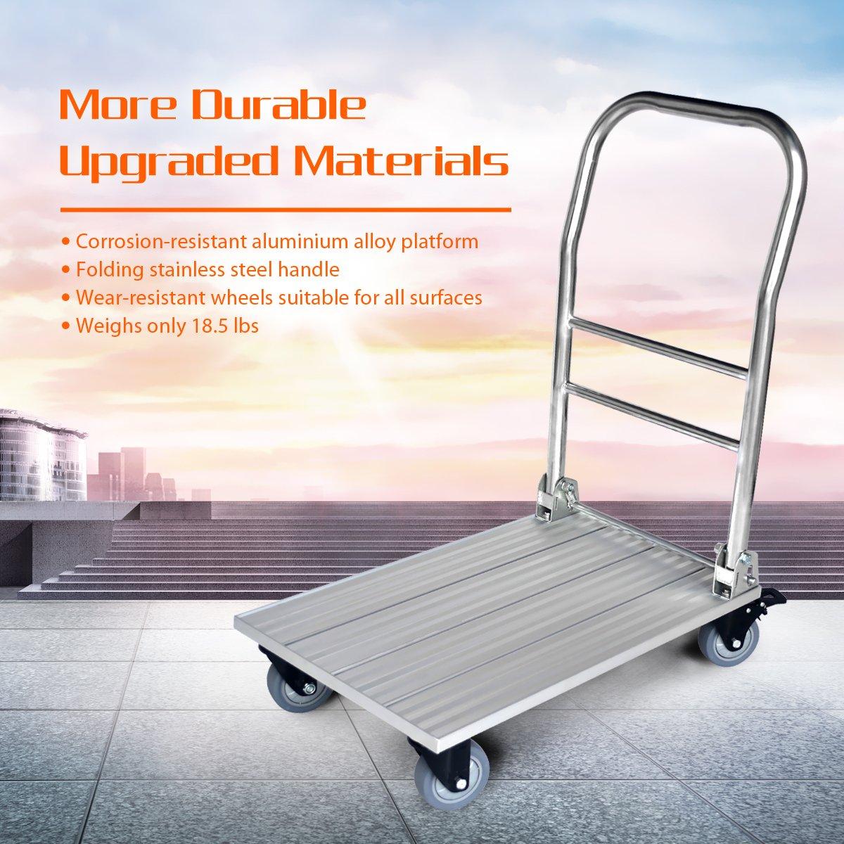 argent Vtuvia pliable aluminium plate-forme camion chariots /à plateforme l/éger en push panier /à plat 16,5 x 27,6 pouces largeur x longueur