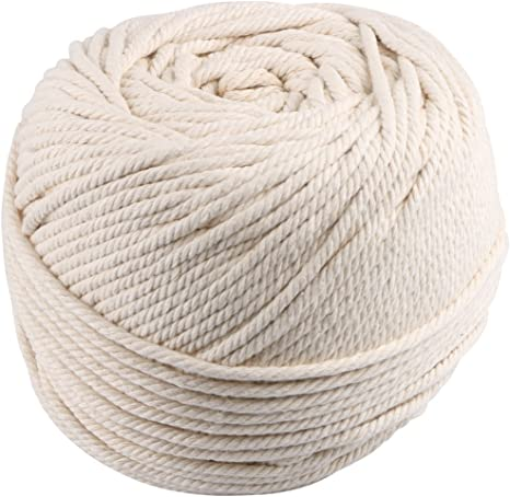 Soft Undyed Natural Color Rope Macrame Cord About 164 yd Natural Virgin Cotton Handmade Decorations Macrame Wall Hangings Plant Hanger Crocheting Bohemia Dream Catcher DIY Craft Knitting 4mmX150m