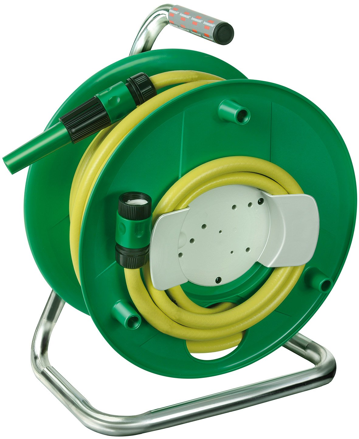 Brennenstuhl hose reel with 20m water hose (spraying nozzle, waterstop, top connector), portable water hose reel for outdoors, hose colour: yellow 1237120