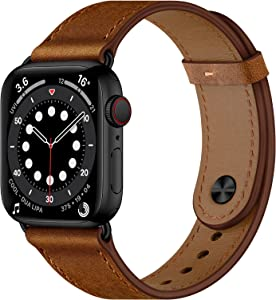 OUHENG Compatible with Apple Watch Band 44mm 42mm 40mm 38mm, Genuine Leather Bands Replacement Strap for iWatch SE Series 6 5 4 3 2 1 (Retro Brown/Black,44mm 42mm)