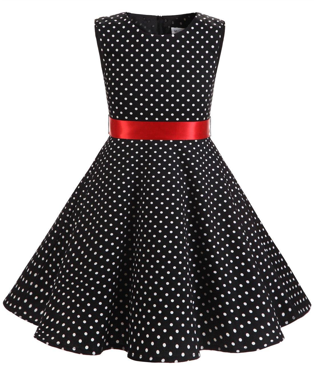 MUADRESS Girls Sleeveless O-Neck Audrey 1950s Vintage Swing Princess Easter Party Dress BlackSmallWhiteDot M