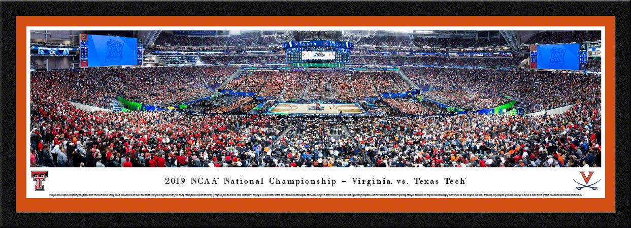 2019 NCAA Basketball Championship - Virginia vs Texas Tech - Unframed Poster by Blakeway Panoramas (Select Frame with Single Orange Mat)