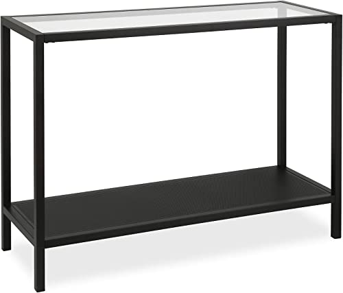 Henn Hart Industrial Metal Perforated Mesh Shelf Console table, 1, Black
