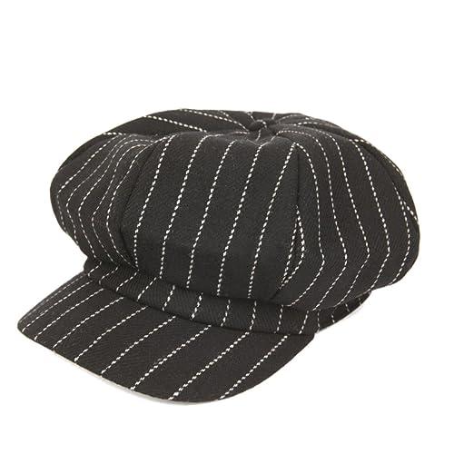 De Gama Alta Rayas Femenino Otoño E Invierno Cálido Cómodo Casual Moda Sombrero Octogonal Boina Somb...