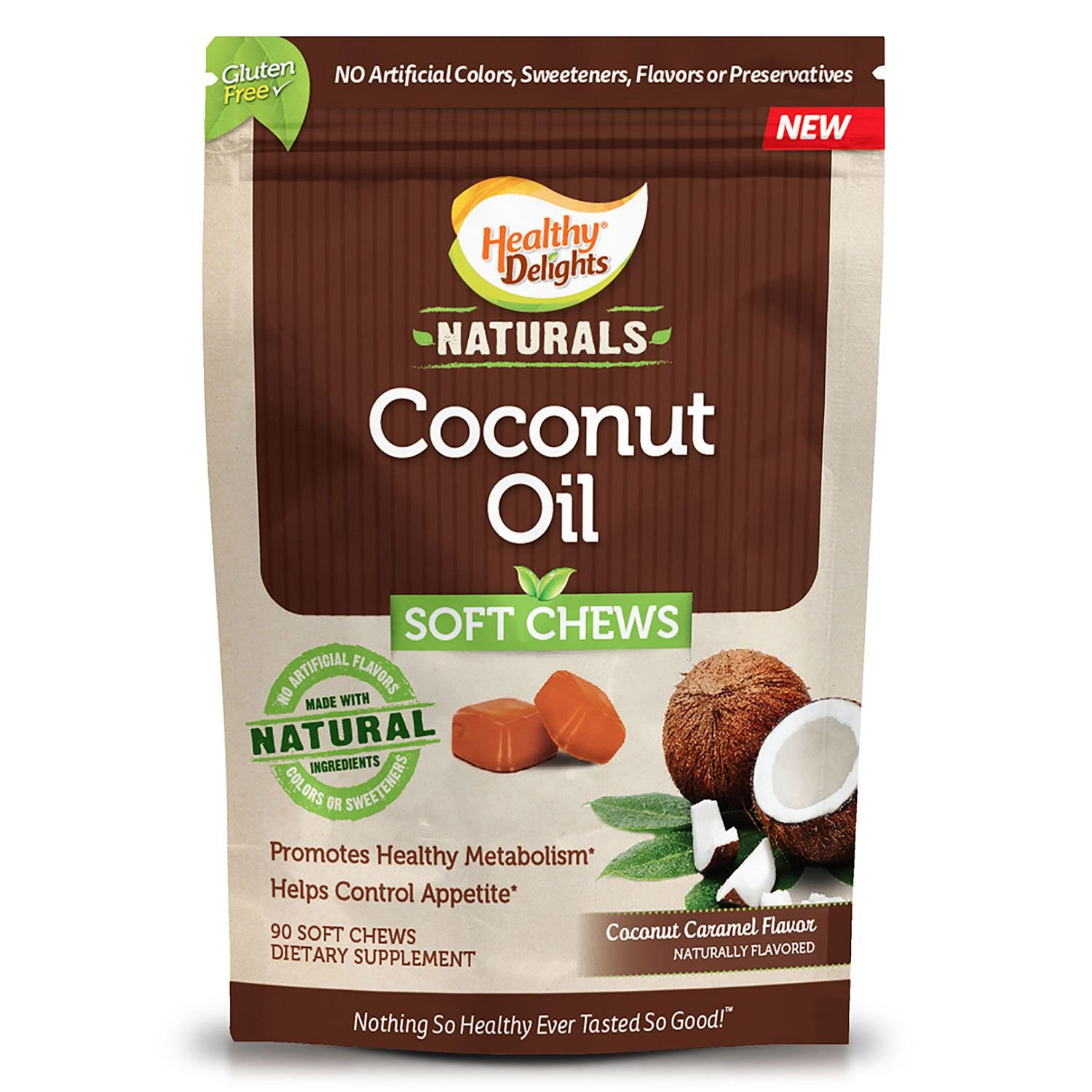 Healthy Delights Natural Coconut Oil Chews, Family Pack 90 Soft Chews by Healthy Delights