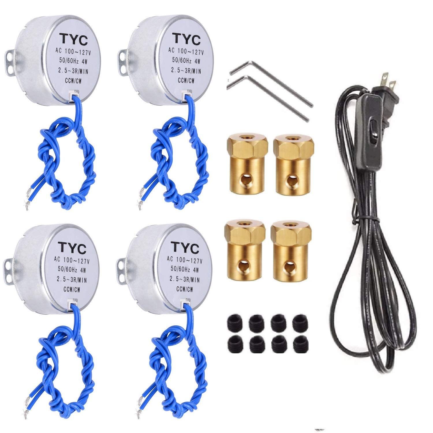 4PCS Synchronous Synchron Motor Electric Turntable Motor with 7mm Flexible Coupling Connector/6ft Power Cord Switch Plug,50/60Hz AC100~127V 4W CCW/CW for Crafting,Cup Turner,Cuptisserie (2.5-3R)