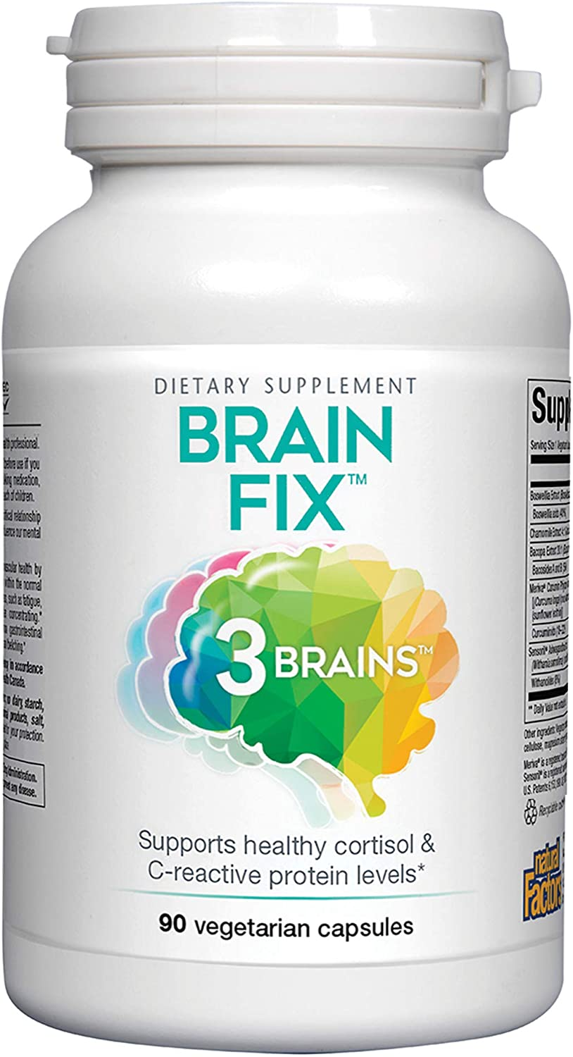 3 Brains by Natural Factors, Brain Fix, Protects The Brain from Cellular Damage, Daily Dietary Supplement, Vegetarian, 90 Capsules 90 Servings