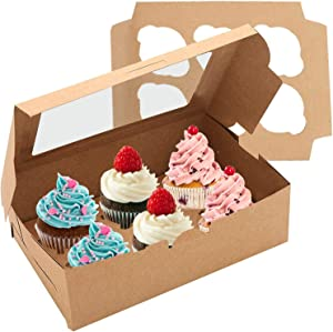 Cupcake Boxes 15-Pack carries 6 Standard Cupcakes, Brown Cupcake Containers, Food Grade Cupcake Strawberry Boxes bulk, Kraft Cupcake Carrier for Muffins Pastries and Cookies.