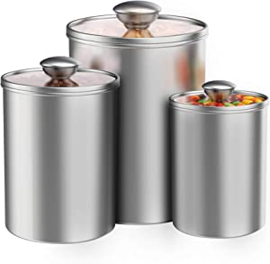 Airtight Canisters Sets for the Kitchen Counter, 3-Piece Stainless Steel Food Storage Container with Clear Glass Lids for Coffee Tea Nuts Sugar Flour
