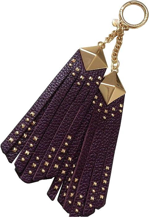MICHAEL KORS Pyramid Studded Leather Tassel Bag Purse Key Chain Fob