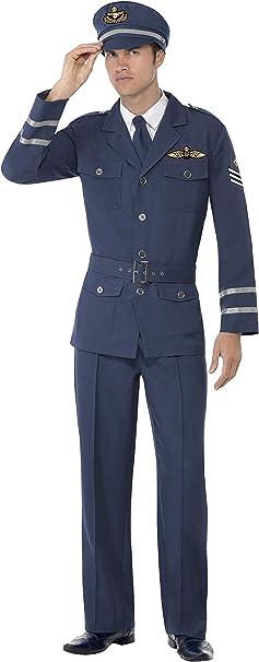 Smiffy'S 38830M Disfraz De Capitán De Las Fuerzas Aéreas De La 2A Guerra Mundial, Azul, M - Tamaño 38