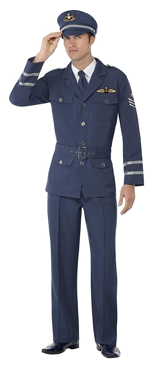 Smiffys Adult men's WW2 Air Force Captain Costume, trousers, Jacket, Hat and Tie, Wartime 40's, Serious Fun, Size M, 38830 Wartime 40's Smiffy's 38830M