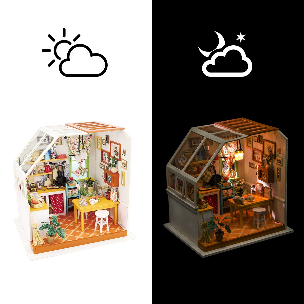 Jasons Kitchen Rolife DIY Dollhouse Miniature Kit,House Kit with Dollhouse Furniture,Wooden Dollhouse Miniature Kits,Birthday//Christmas for Handicraft Lovers,Women and Girls