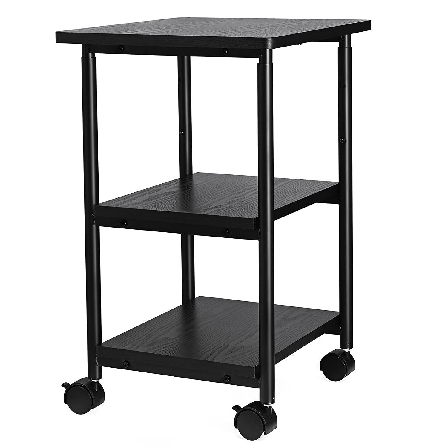 SONGMICS Adjustable Printer Stand Desk Mobile Machine Cart with 2 Shelves Heavy Duty Storage Trolley for Office Home Black UOPS03B