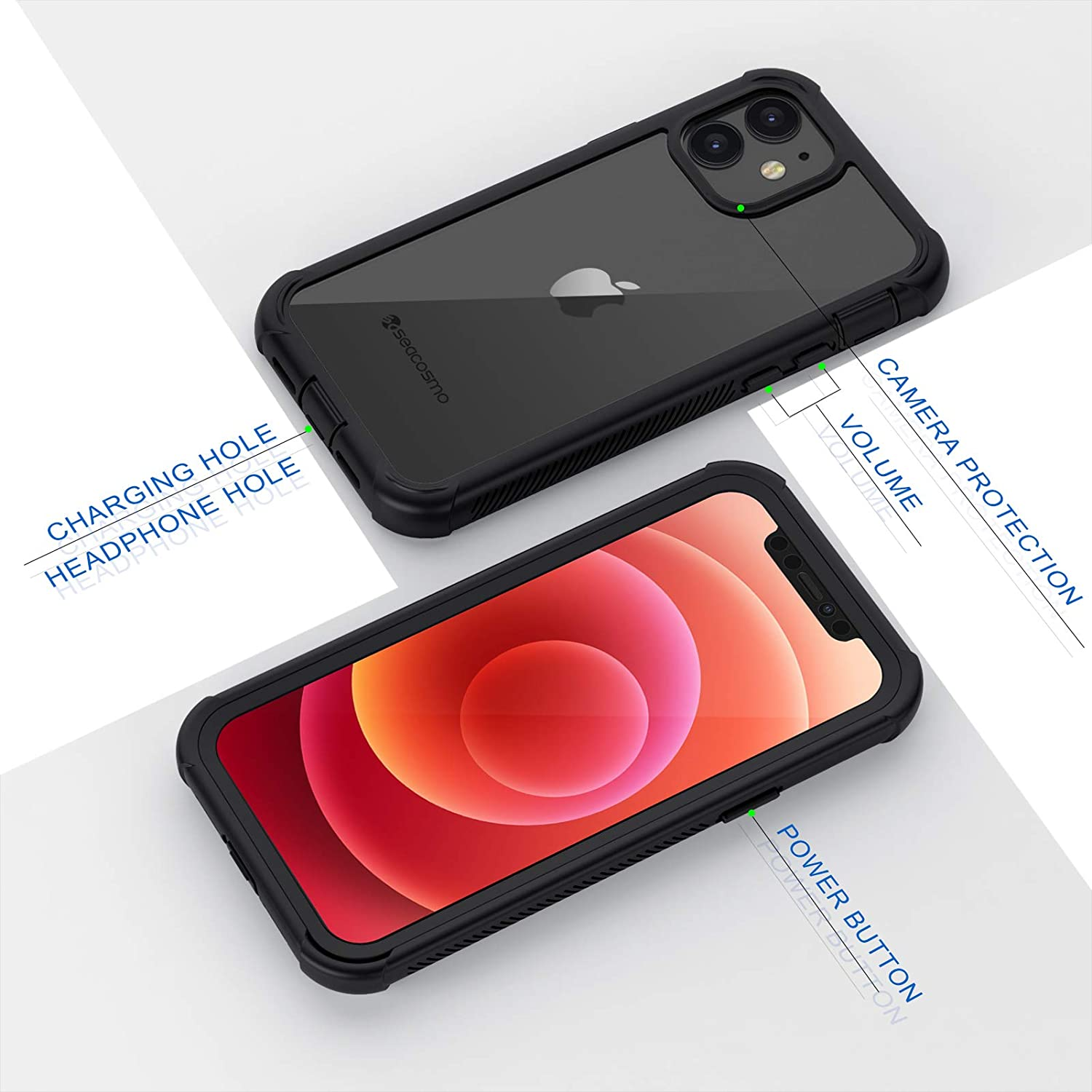 Full Body Protective Cover with Screen Protector Clear Shockproof Bumper Transparent 360/° Protection Case for iPhone 12//12 Pro 6.1 Inches iPhone 12 Pro Case seacosmo iPhone 12 Case Black