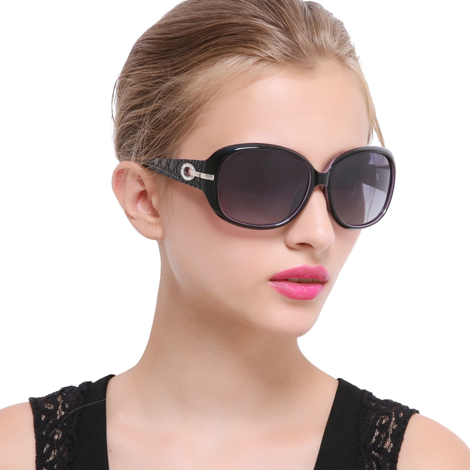 4d5e1fa00985 Joopin Women Polarized Sun Glasses Butterfly Big Frame Brand Sunglasses (Black  Simple package Black)  Amazon.in  Clothing   Accessories
