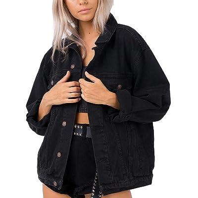 Oversized Jean Jacket Women's Vintage Washed Boyfriend Plus Size Denim Jacket at Women's Coats Shop
