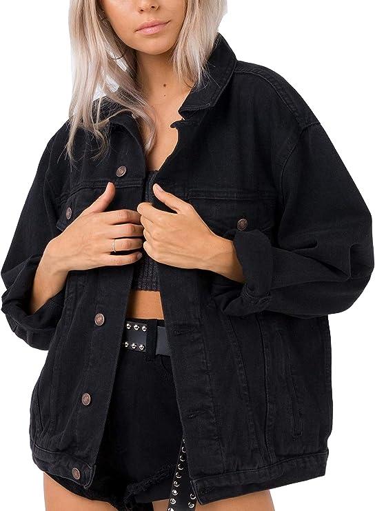 Oversized black denim jean jacket for women | Street Style classic denim jacket for any season | Vamp your style