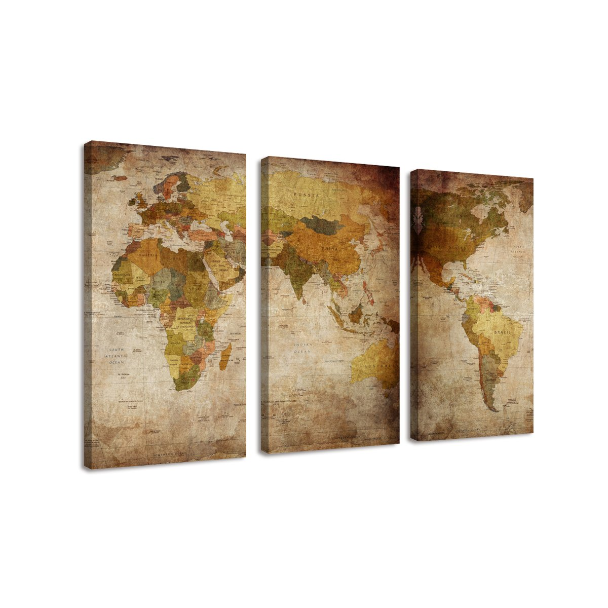 BIL-YOPIN 3 Panels Large Canvas Printing Retro Abstract World Map Wall Art Painting giclee canvas prints for Home Decor …