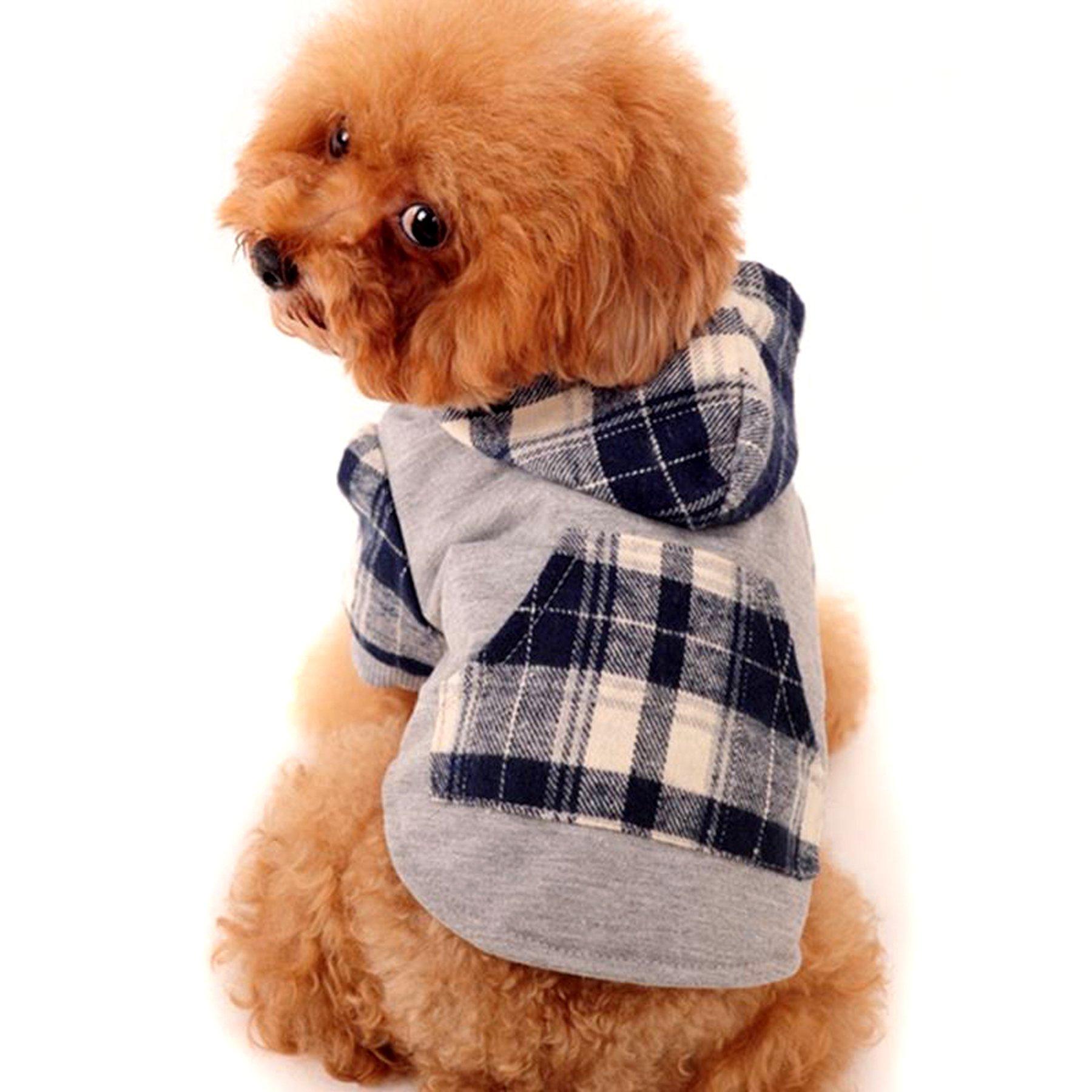 Alfie Pet by Petoga Couture - Leo Flannel Hoodie - Color Blue, Size: XS