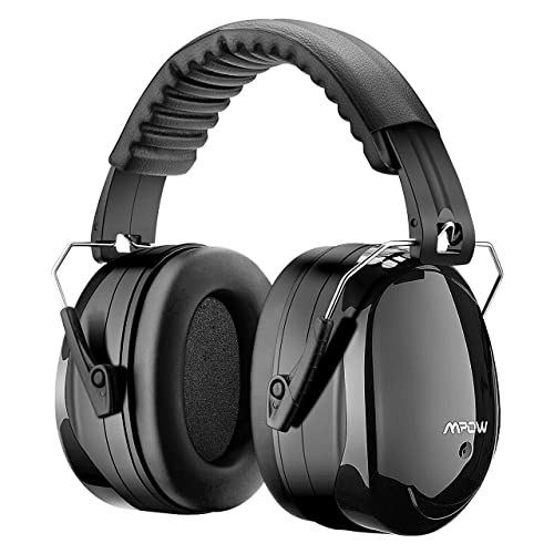 Mpow Ear Defenders, Fits Adults and Kids, 34dB SNR Comfortable Safety Ear Muffs Hearing Protector with Folding-Padded Head Band for Shooting, Construction, Reading or Yard Work -- Black (Ear Defenders Storage Bag Included)