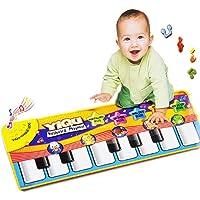 Malloom® nuevo juego táctil teclado cantar música gimnasio alfombra estera niños bebé + regalo:clips de pelo