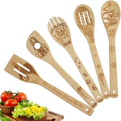 Premium Quality Kitchen Gifts for Men 5 Pcs Star War Burned Wooden Utensils Cooking Set Organic Bamboo Spoons Turners Carved Spatulas Non-Stick for Cookware Kitchen Gadgets