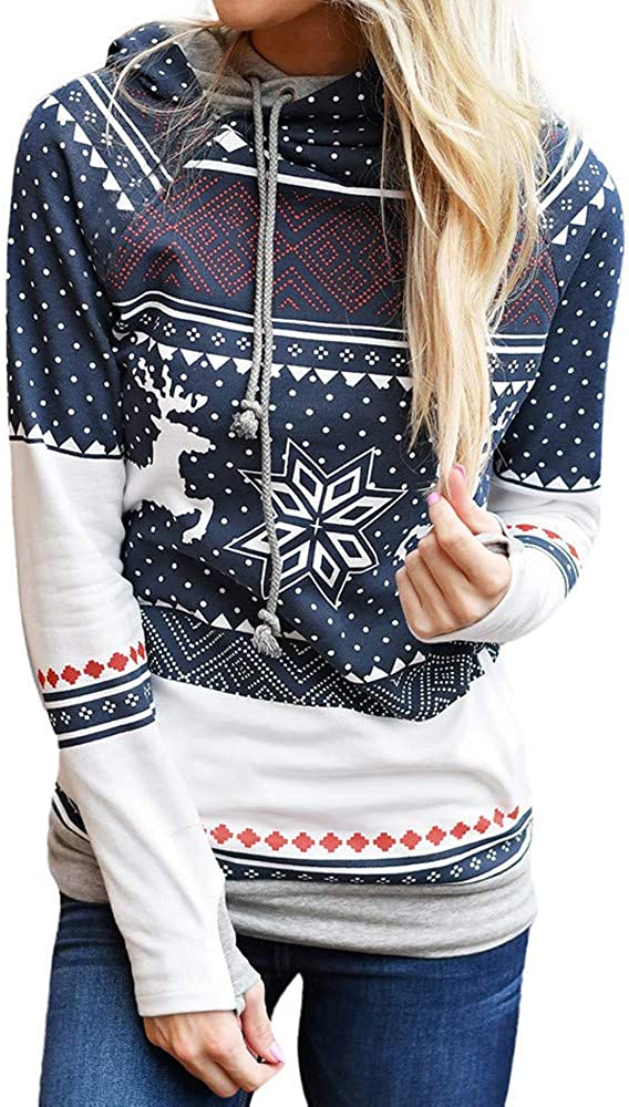 Lavany Christmas Womens Pullovers Deer Printed Long Sleeve Xmas Hoodie Sweatshirt