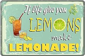 Retro Metal Tin Sign Vintage If Life Gives You Lemons Make Lemonade Sign for Plaque Poster Cafe Wall Art Sign Gift 12x8 Inch