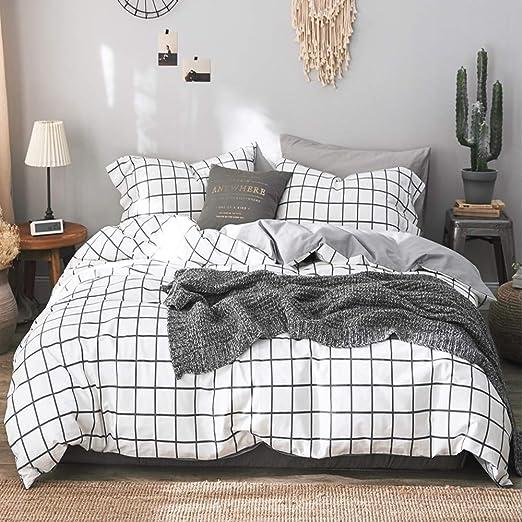 68x90 1200 TC Plain Microfiber Down Quilt Bedding Cover with Zipper Ties for Women Rustic Farmhouse NANKO Twin Duvet Cover Set White Grid 2 Piece